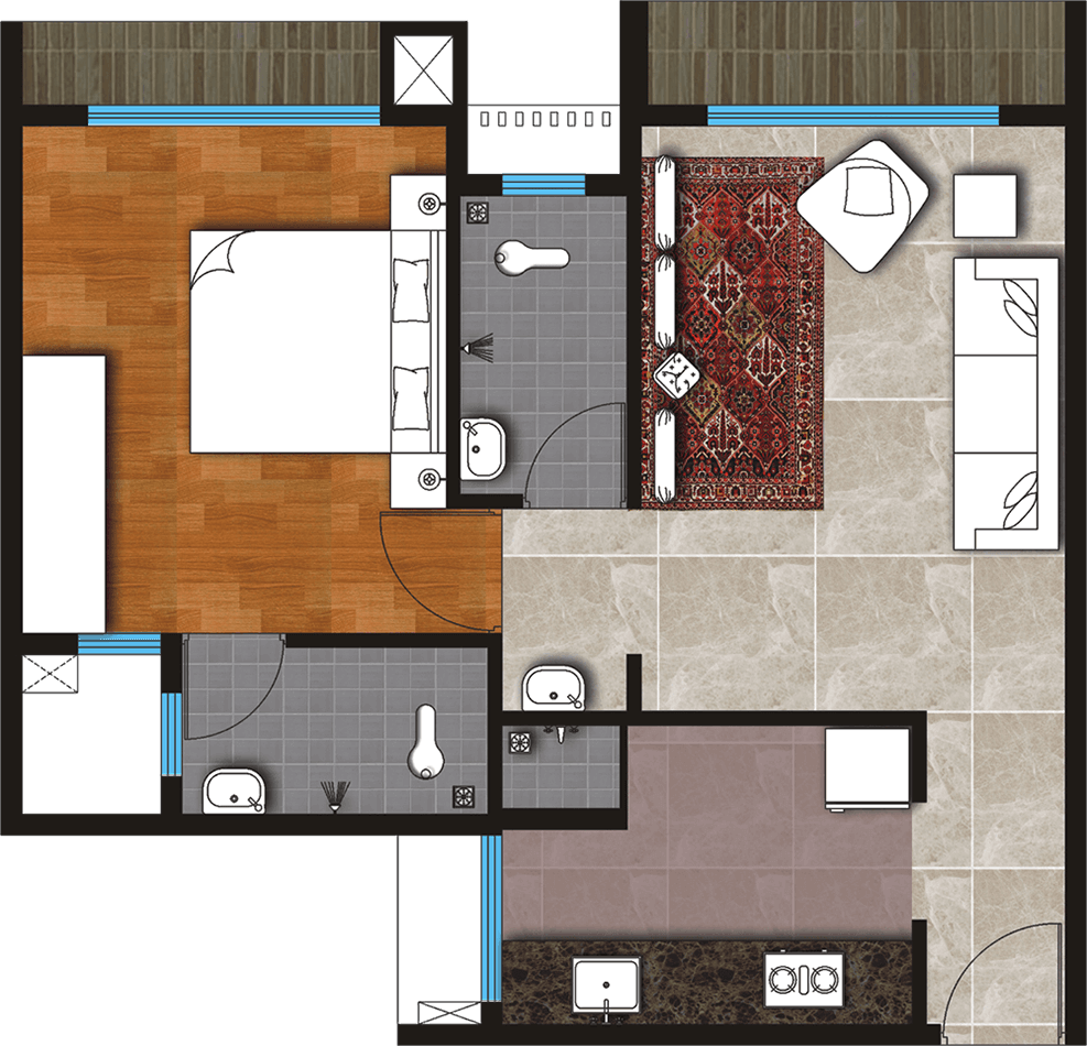One Bedroom Hall & Kitchen (Type - A)